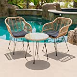 Belleze 3-Pieces Outdoor Patio Wicker Chair Bistro Set Cafe Coffee Table UV Resistant w/Seat Cushion, Beige
