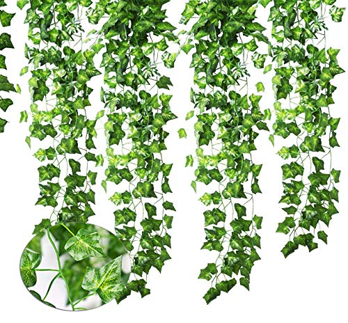 Bestxun Artificial Ivy, 84 Ft-12 Pack Fake Foliage Artificial Hanging Plant Leaves for Wedding Party Garden Wall Decoration