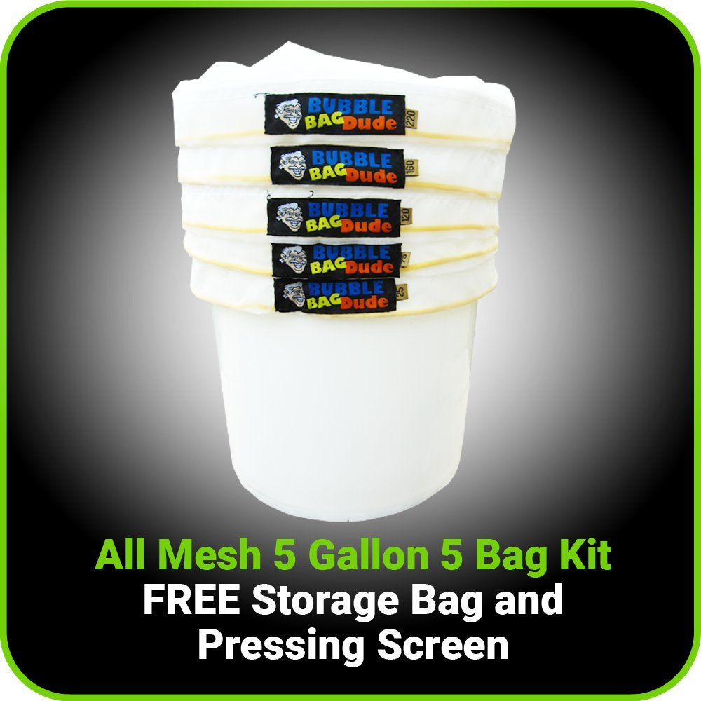 """Pressing Screen and Storage Bag 25 Micron BUBBLEBAGDUDE Bubble Bags All Mesh 5 Gallon 5 Bag Set Herbal Ice Essence Extraction Bag Kit with 10 x 10/"""""""