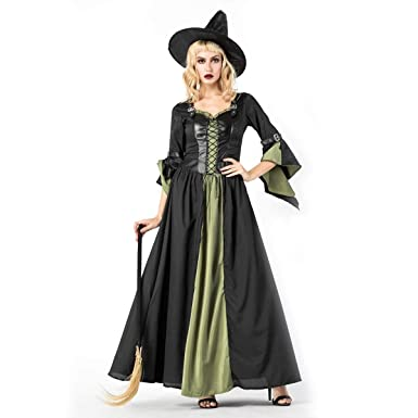 5fe3683267c Amazon.com: Halloween Witch Costume for Women Adult Sexy Dress Hat ...