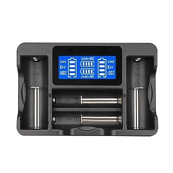 BESTSUN Cargador de batería, cargador universal USB inteligente con pantalla LCD de 4 ranuras para recargable Li-ion / Ni-MH / Ni-Cd 18650 26650 18350 ...