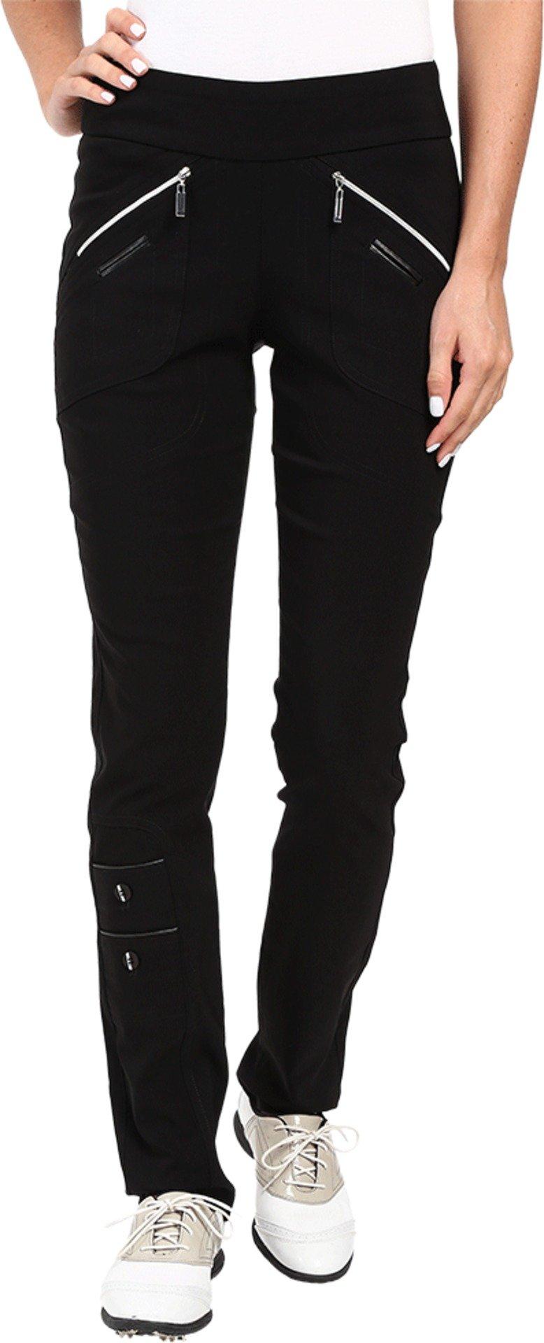 Jamie Sadock Women's Skinnylicious 41.5 in. Pant with Control Top Mesh Panel Jet Black Pants 18 X 32