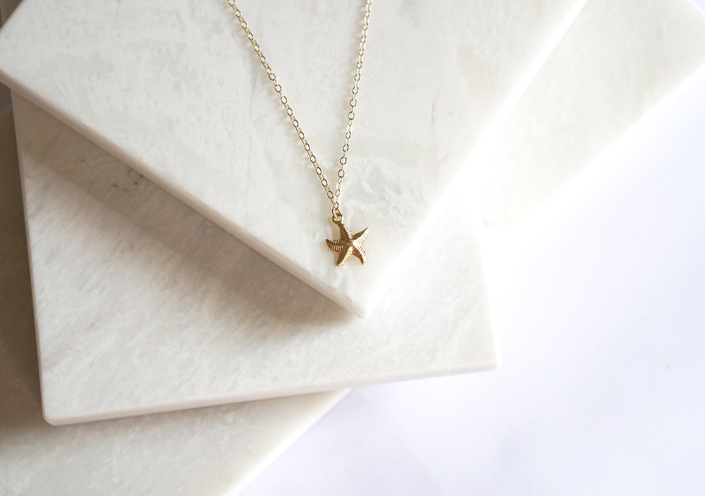 14k Gold Filled Starfish Necklace.