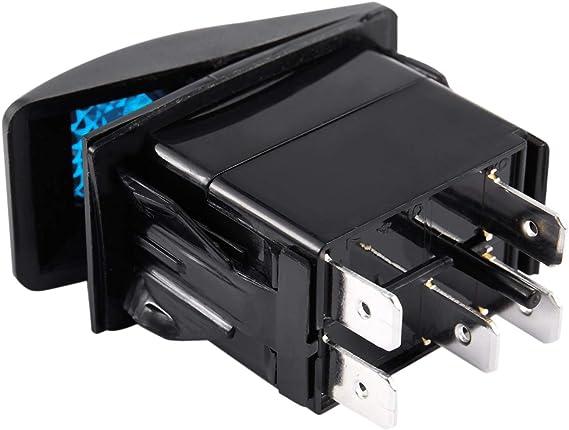 20a 24V Monland Patr/óN de Bocina de Luz Azul LED 12V 10a Interruptor Basculante Basculante de 5 Pines Coche Barco