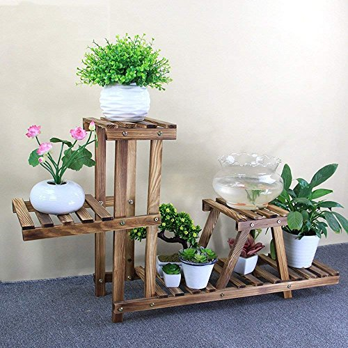 (PLLP Fine Wooden Flower Stand,Flower Racks Plant Theatre Household Solid Wood Multilayer European-Style Indoor Multi-Meat Balcony Basin Frame Fish Tank Frame Ideal Gardeners Gift,A)