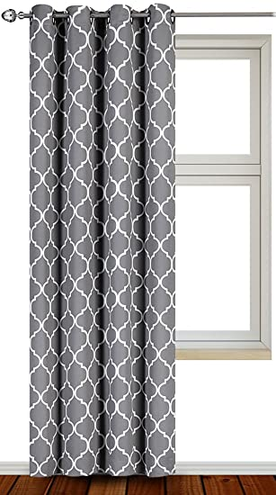 printed blackout room darkening color block grommet curtain panel 52 inch wide by 84 inch long