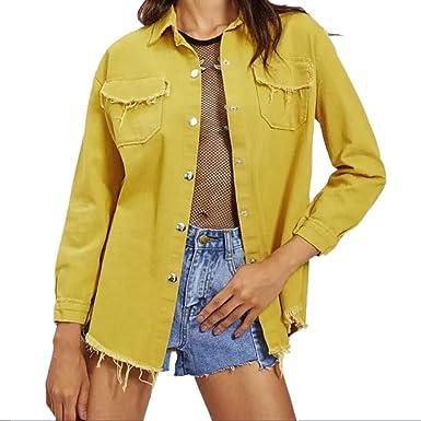 Vintage Jeansjacke Beiläufige Cut Outs Herbst Lazzboy Damen POiukXZ