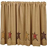 Cheap VHC Brands Primitive Kitchen Window Curtains – Stratton Tan Burlap Applique Star Tier Pair, L36 x W36