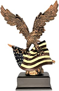 Bronze Electroplated Bald Eagle Clutching On American Flag Statue with Base Freedom Liberty Patriotic Figurine Resin Crafts Eagle Home Office Desktop Wine Cabinet Decoration Crafts Home Decoration