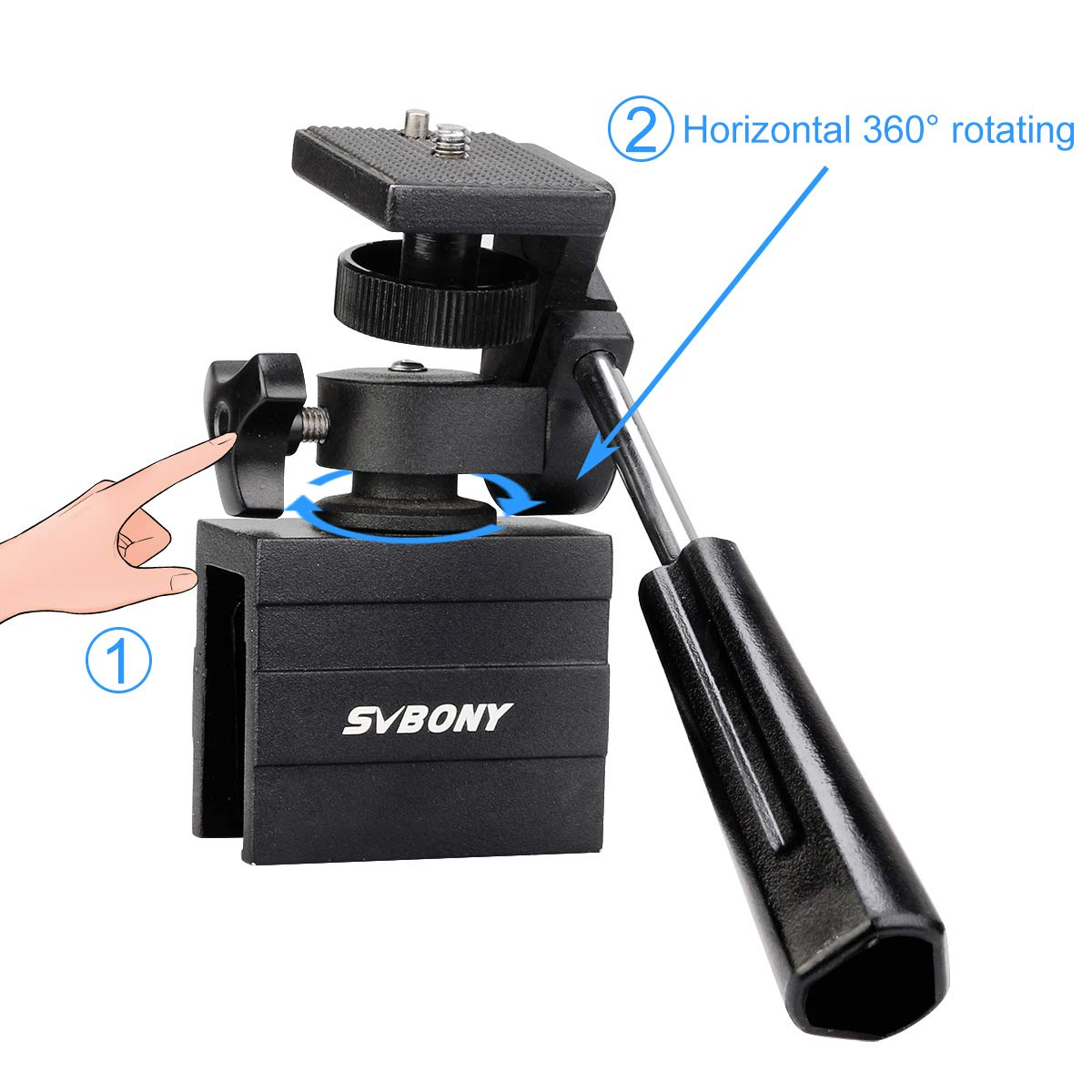 SVBONY SV126 Window Mount Adjustable Vehicle Car Clamp Mount Compact for Spotting Scope Monocular Binocular Telescope SLR Camera with Mounting Thread