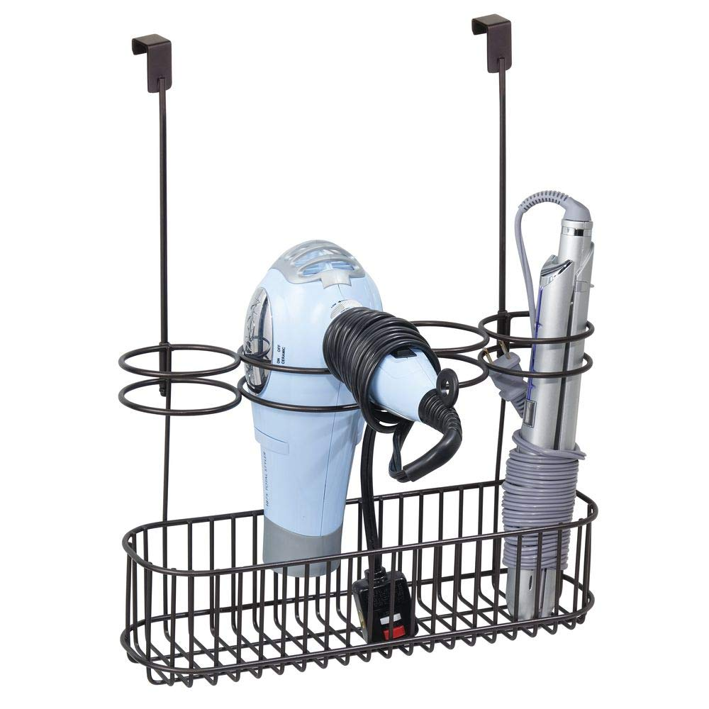 mDesign Hair Dryer Holder Stand /— Hair Dryer Storage Unit with Multiple Storage Slots /— Over Door Hanging Basket and Stand /— Black