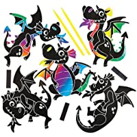 Baker Ross Dragon Scratch Art Magnets (Pack of 10) For Kids To Decorate, Arts and Crafts