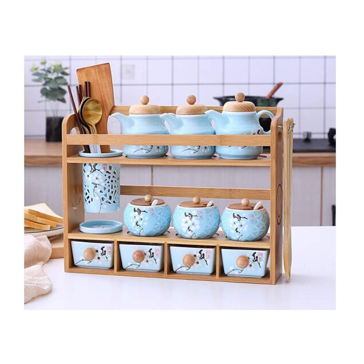 MINGRUIGONGMAO Spice jar set sealed cans seasoning jar ceramic seasoning box salt pot oil pot combination with shelf kitchen rack storage combination, blue Plush toys (Color : Blue-B) by MINGRUIGONGMAO