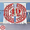 Philiphome 2 Panel Set Digital Printed Window Curtains,Decorations Dated Rubber Stamp with Number Forty Congratulation Grungy Look Red White for Bedroom Living Room Dining Room