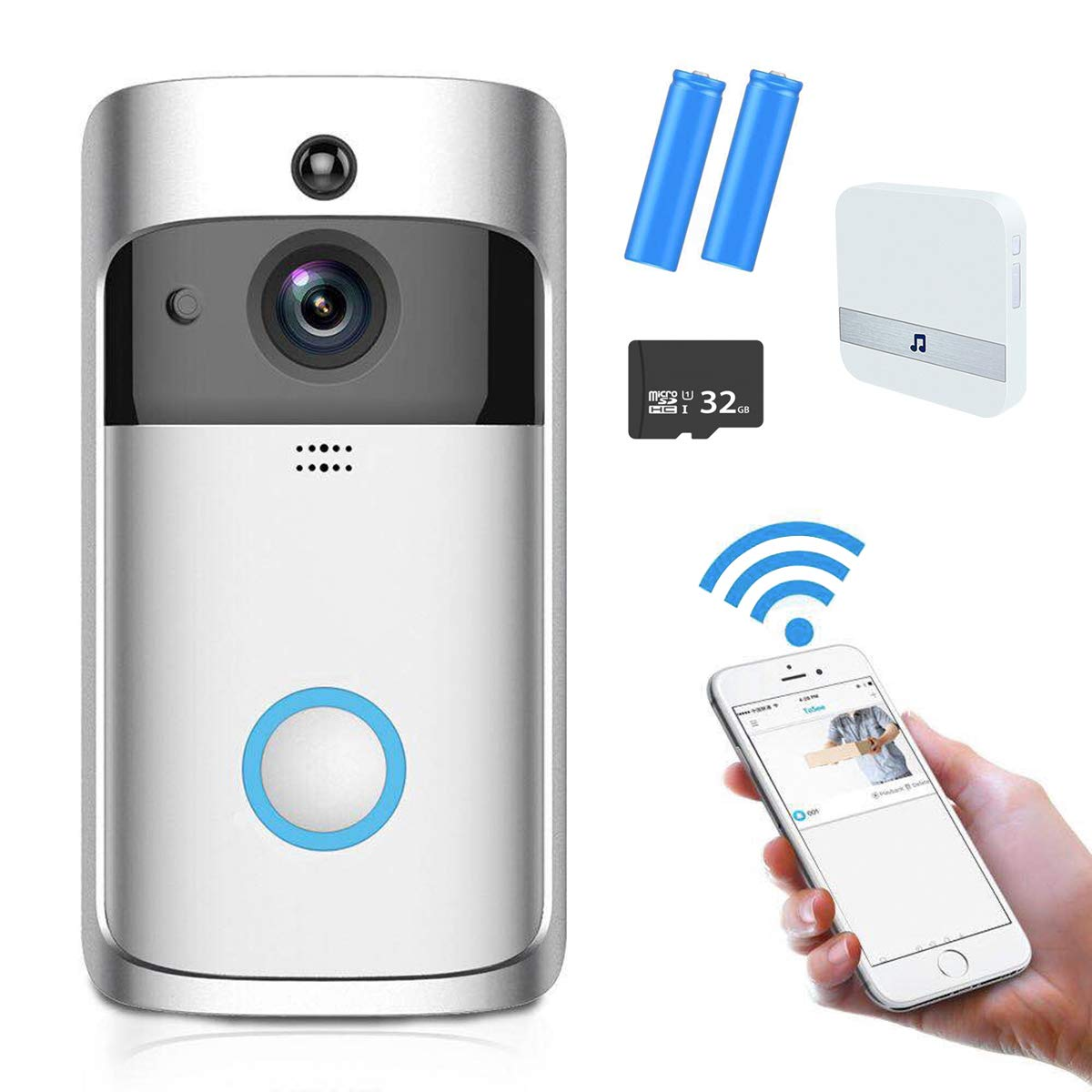 Wifi Video Doorbell, AOGE Wireless Smart Doorbell, Home Security Camera with Chime, Built-in 32G TF Card, PIR Motion Detection, Night Vision, Two Way Audio and App Control for IOS and Android