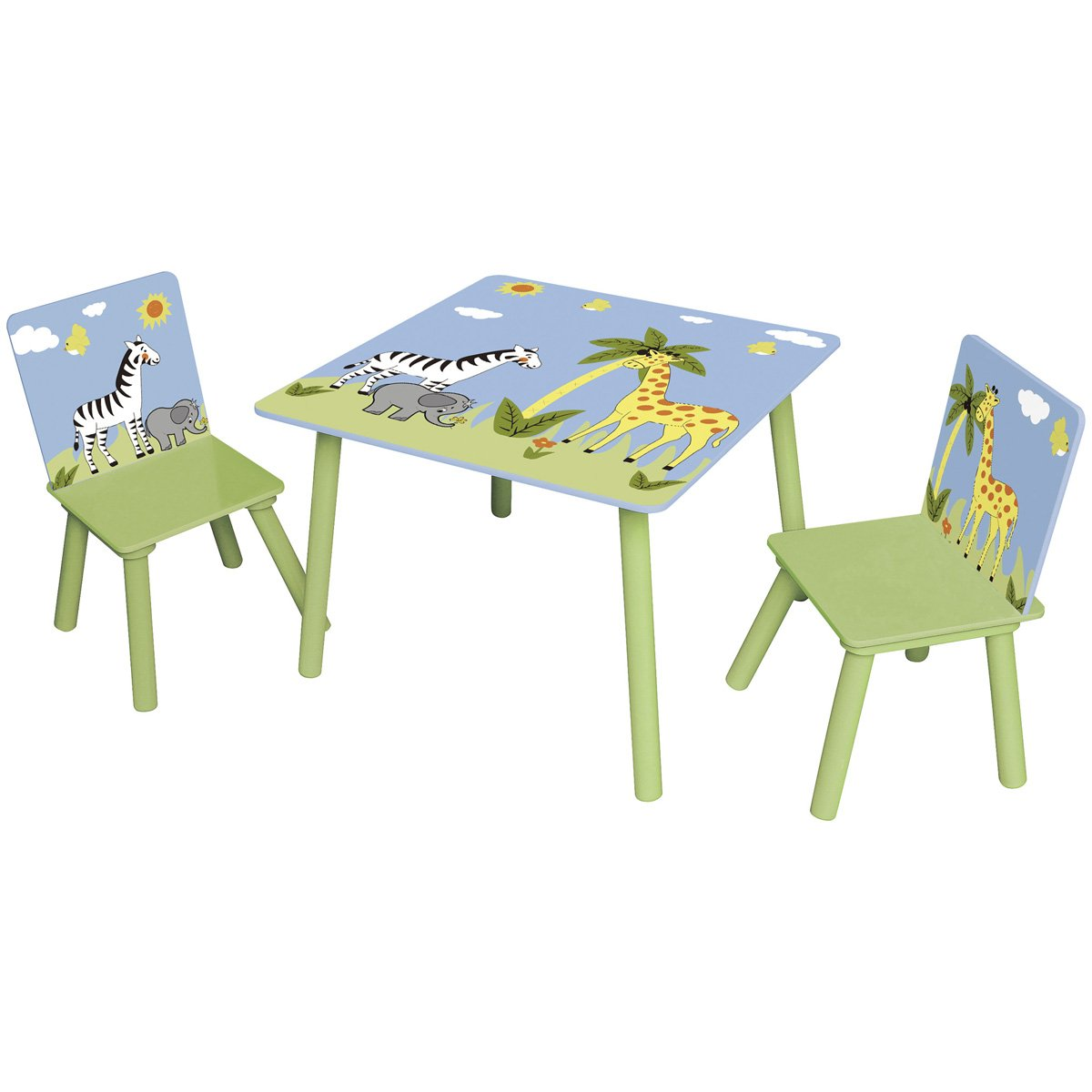 Zoo mesa Grupos Set 1 mesa con 2 sillas en colores • Niños Silla ...