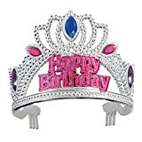 Plastic Gem Silver Happy Birthday Tiara