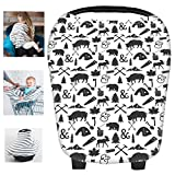 restaurant baby sling - Multi-Use Nursing Breastfeeding Cover Baby Car Set Cover Canopy Shopping Cart Cover Swaddle Blanket for Infants Newborns Toddlers Shower Gift (P)
