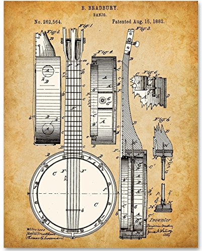 Banjo Musical Instrument Art - 11x14 Unframed Patent Print - Great Gift for Banjo Players
