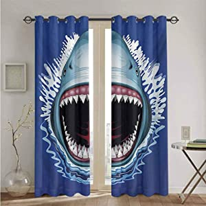 nooweihome Shark Eclipse Blackout Curtains Attack of Open Mouth Sharp Teeth Sea Danger Wildlife Ocean Life Cartoon Microfiber Window Panel Pair W96 x L84 Navy Blue Grey Fuchsia