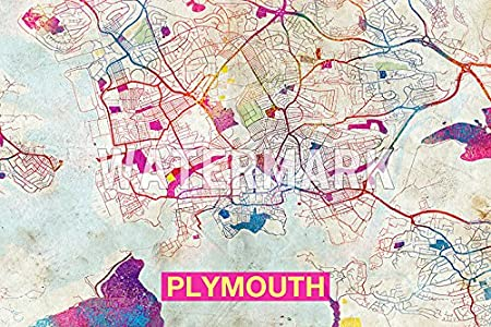 plymouth england uk artistic modern map original high quality photo poster print