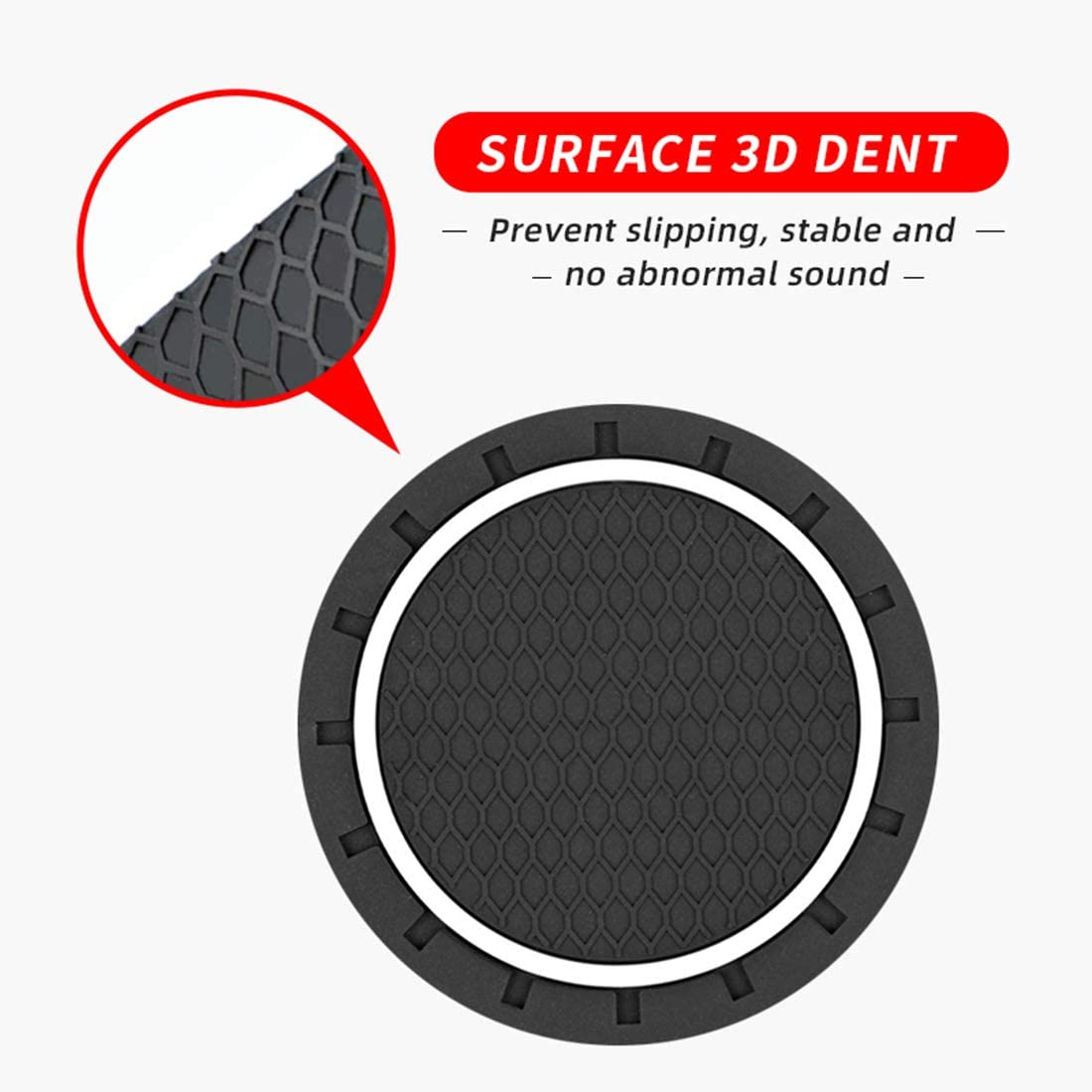 Auto Interior Decoration QWASZX 2 Pcs Car Cup Anti-Slip Mat Pad For Peugeot 206 207 307 3008 2008 308 408 508 301 208 Round Pvc Anti-Skid Coasters