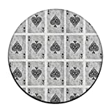 ART TANG Vintage Ace Of Spades Card Poker Lover Area Rug Durable Carpet Non-slip Round Floor Mat Home Decor Rug Pads (24 Inch Round)