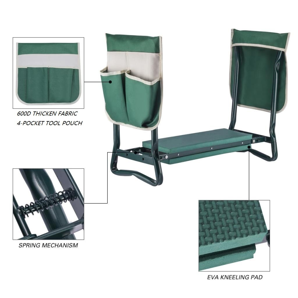 Ideal Choice Product Deep Seat Garden Kneeler and Seat-FoldingGarden Kneeler with 2 Ex-Large Tool Pouches-Gardener Foldable Bench Stool with Kneeling Pad Cushion-Gardening Bench by Ideal Choice Product (Image #4)