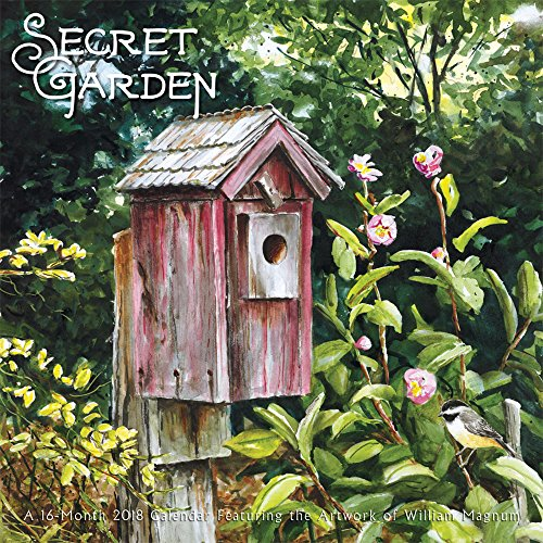 Secret Garden 2018 12 x 12 Inch Monthly Square Wall Calendar by Hopper Studios, Gardening Art Artwork Design