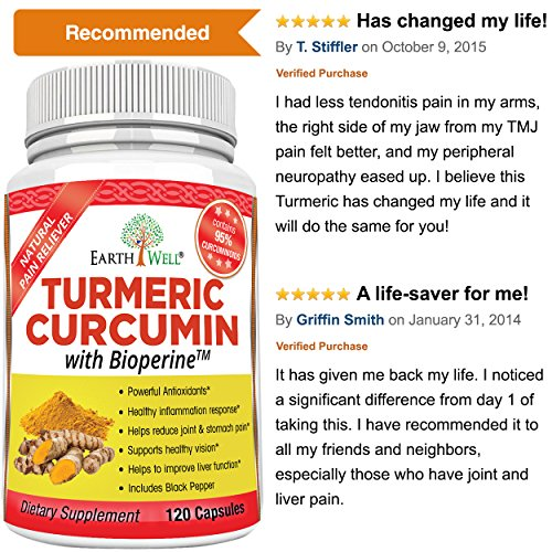61wfOFW2FhL - EarthWell Turmeric Curcumin Extract Anti-inflammatory Supplement, 650mg (120 Capsules)