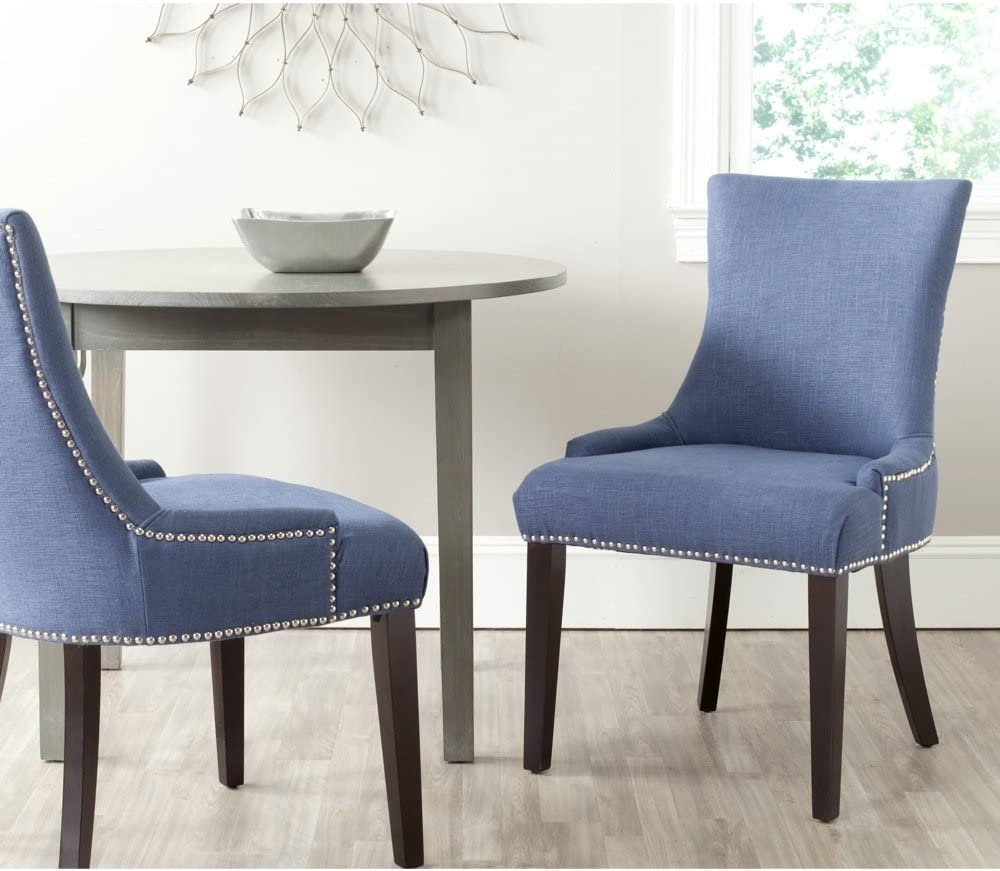 Safavieh Mercer Collection Lester Dining Chair, Blue and Espresso, Set of 2