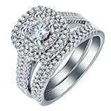 Ginger Lyne Collection Monika Gorgeous Bridal Wedding Ring Set (Platinum-Plated, 7)