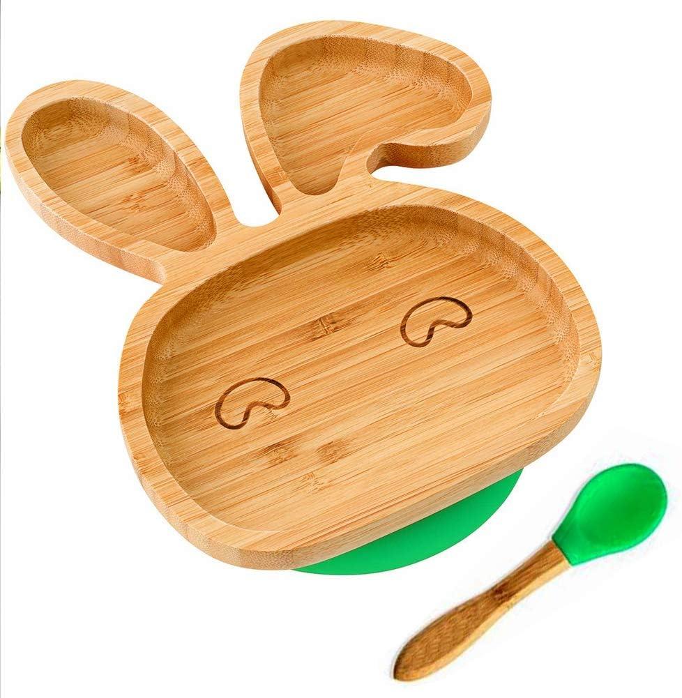Tapis de pr/éhension Sevrage auto-alimentation,Green,bunny Assiette Stay Stay B/éb/é Bambin Assiette en bambou avec aspiration de silicone et cuill/ère