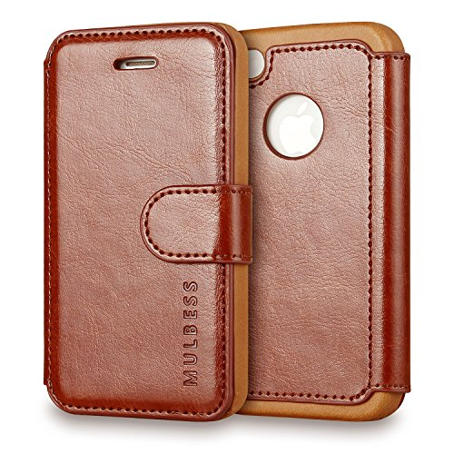Mulbess Vintage Series Ultra Slim Leather Flip Wallet Case with Card Slots for iPhone 4 / 4S - Coffee Brown