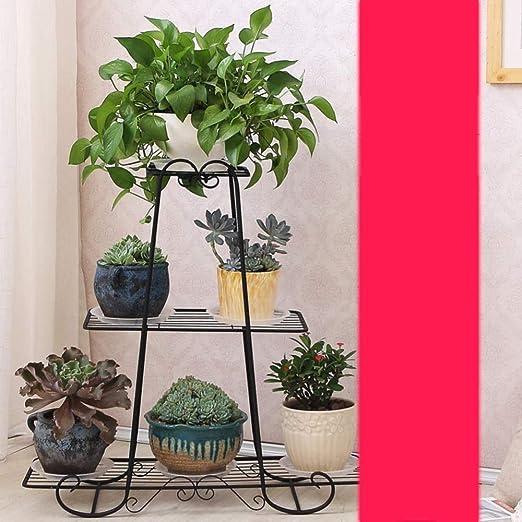 KUMOPYU Soporte De Planta Decorativa Interior Y Exterior De Hierro Forjado-Negro_31x31 (80x80cm) Soporte para Macetas Maceteros Decorativos Interior Estanterias para Macetas Escalera Decorativa: Amazon.es: Jardín