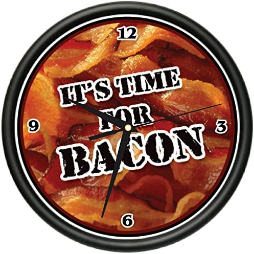TIME for Bacon Wall Clock Kitchen Diner Decor Funny Gift