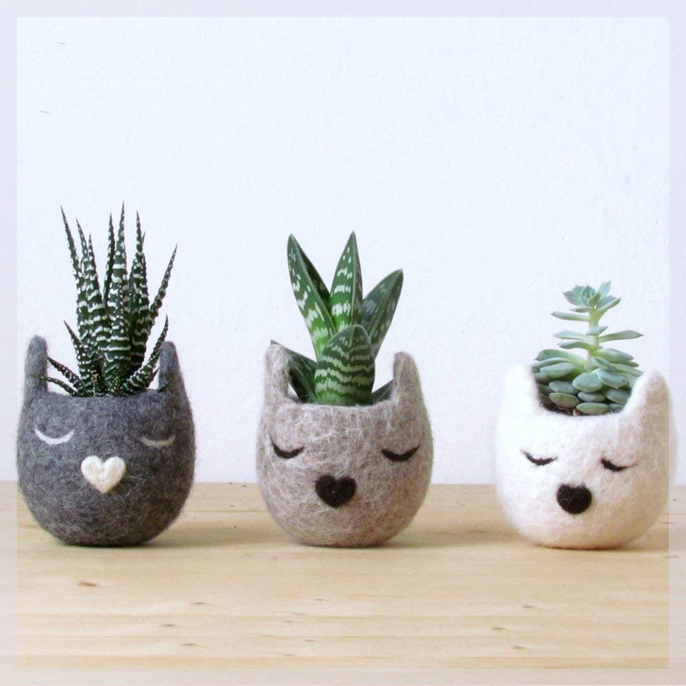 Animal planters/Cat head planter/Cat lover gift/Set of three