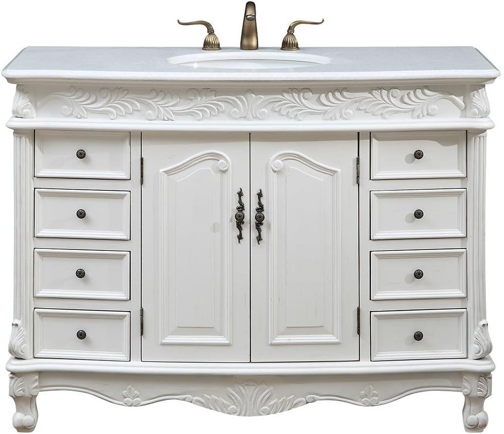 """Elegant Decor VF-1039 Single Bathroom Vanity Set, 48"""", Antique White/VF-1039"""