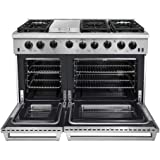 """Thor Kitchen 48"""" Stainless Steel Gas Range Black Porcelain Drip Pan with Double Oven Automatic Re-ignition Safety LRG4801U"""