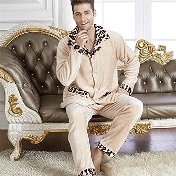 &zhou pijamas hombre ocio cardigan suelto mantenga alta gama cálida de invierno pijamas gruesos conjuntos de