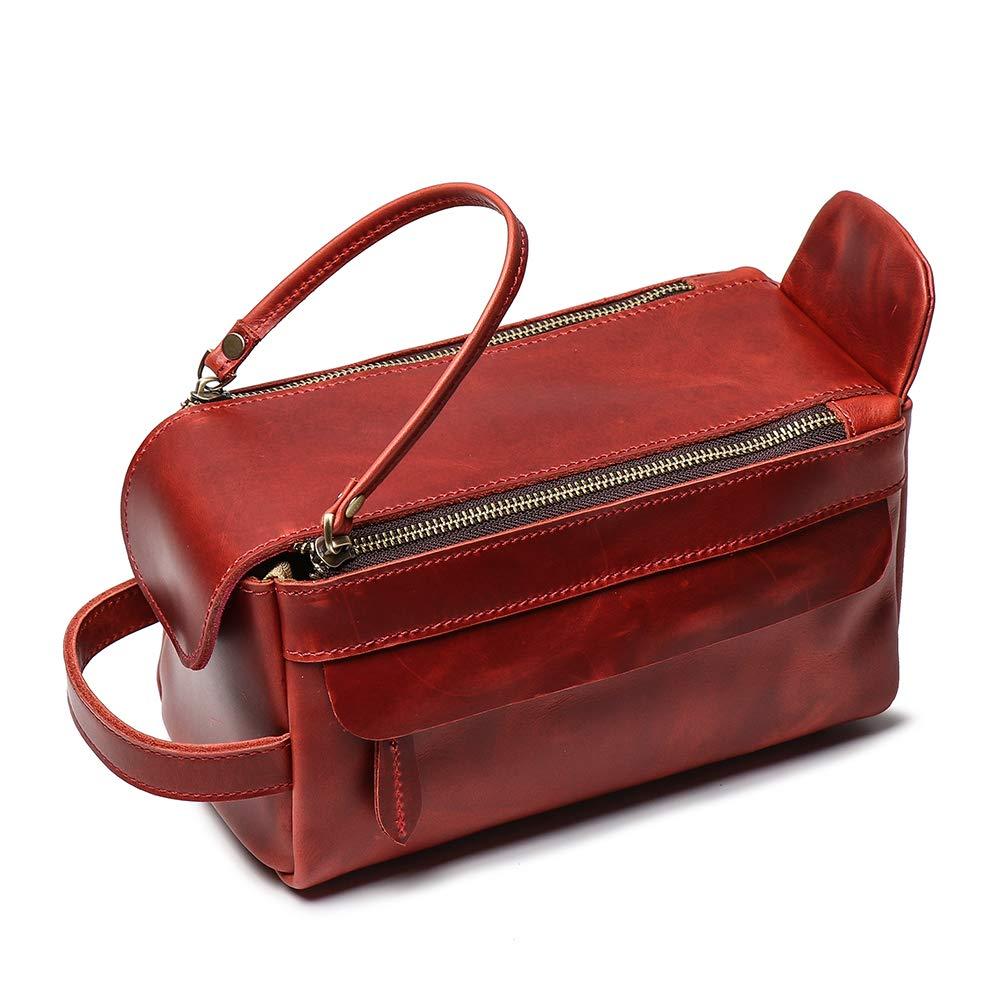 Leathfocus Leather Toiletry Bag, Dopp Kit Organizer Travel Accessories Cosmetic Bag, Handmade Full Grain Leather Unisex Makeup Bag (Red)