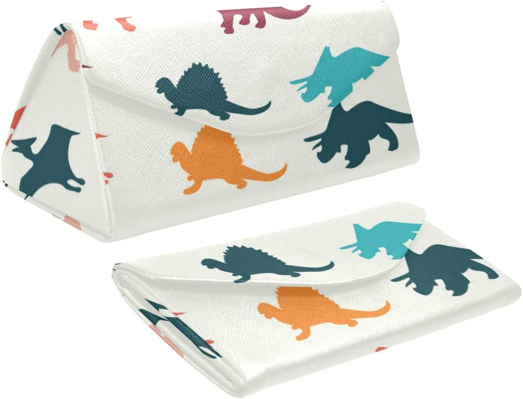 InterestPrint Colorful Dinosaur Foldable Glasses Case Eyeglass Cases Sunglasss Boxes for Men Women