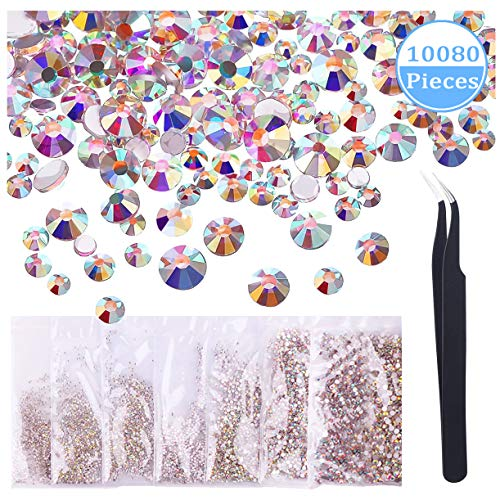 - Le Fu Li 10080 Pieces Nail Crystal AB Rhinestone Decorations Timeless Lasting SS3 S4 5 6 8 10 12 Round Iridescent Glass Flatback Glitter Bling Diamond Charms Gems Stones For 3D Nail Art Jewelry DIY,M