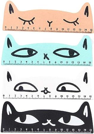 Ogquaton Paquete de 4 Reglas de Madera 15 CM Escala Encantadora Gatos de Dibujos Animados Diseño Regla de Costura del palillo para el Estudiante: Amazon.es: Hogar