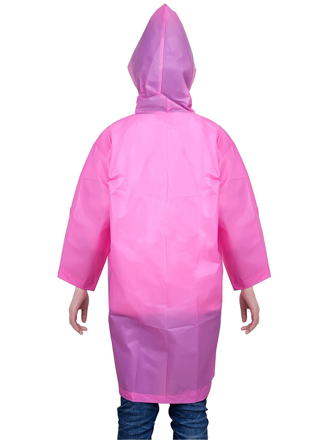 Mudder Kids Children Rain Poncho Raincoat Portable with Hoods and Sleeves (Pink)