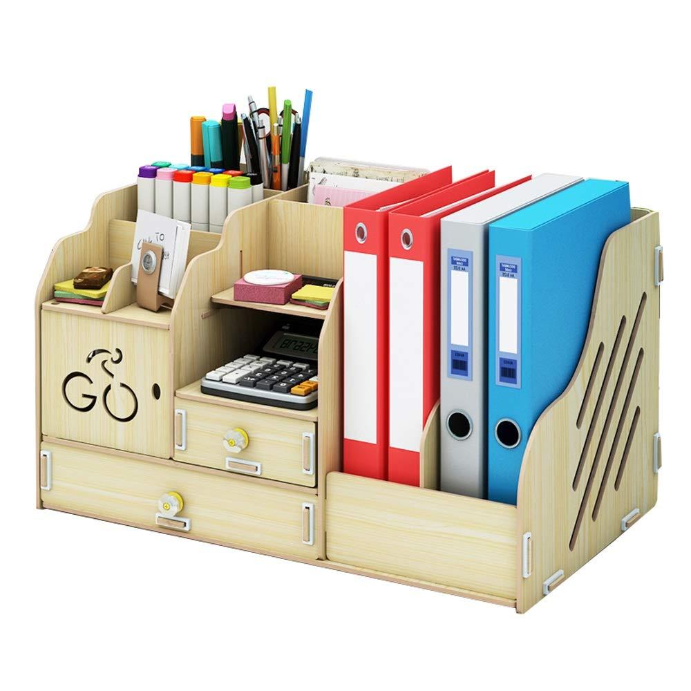 多機能事務用品デスクトップ収納ボックス、引き出しクリエイティブ本棚、文房具ラック、木製素材、耐久性、多層収納 (色 : White maple) B07MJR5N4M White maple