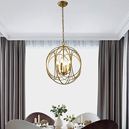 Lovedima Modern Chic Gold Sphere 3 Lights/4 Lights Iron Orb Chain Suspended Chandelier Pendant Light 4-Light