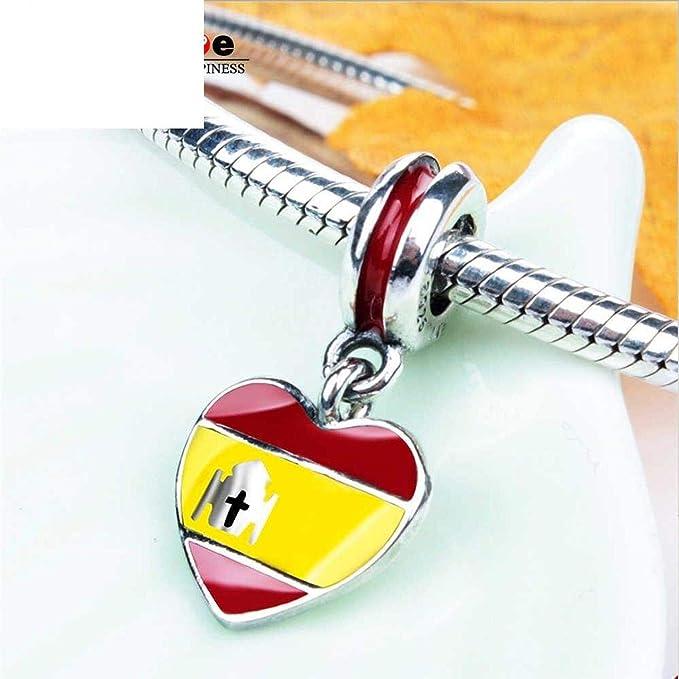 Abalorio de plata de ley 925 con diseño de bandera de España en forma de corazón, esmalte rojo y amarillo, para pulseras y collares europeos: Amazon.es: Juguetes y juegos