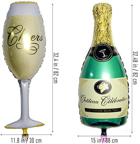 AOLVO - Juego de Globos para Botella de champán, 32.4 Pulgadas ...