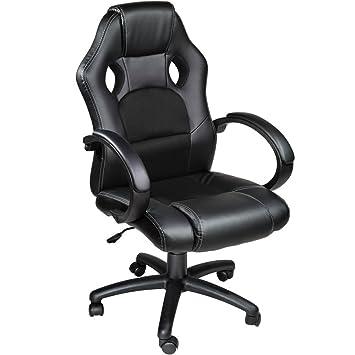 TecTake Silla de escritorio de oficina, Racing - disponible en diferentes colores (Negro)